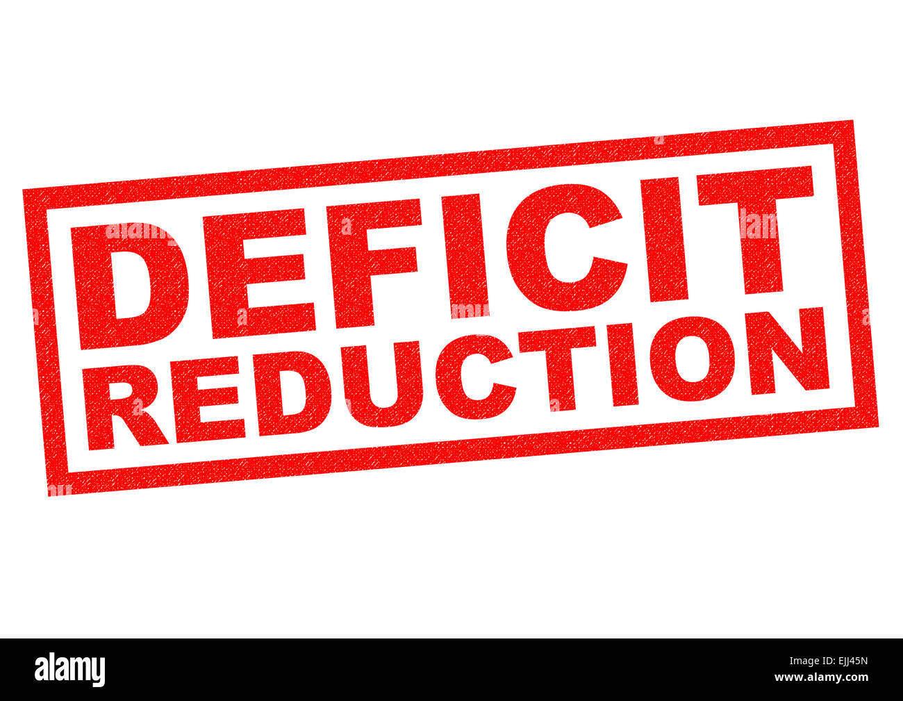 DEFICIT REDUCTION red Rubber Stamp over a white background. - Stock Image