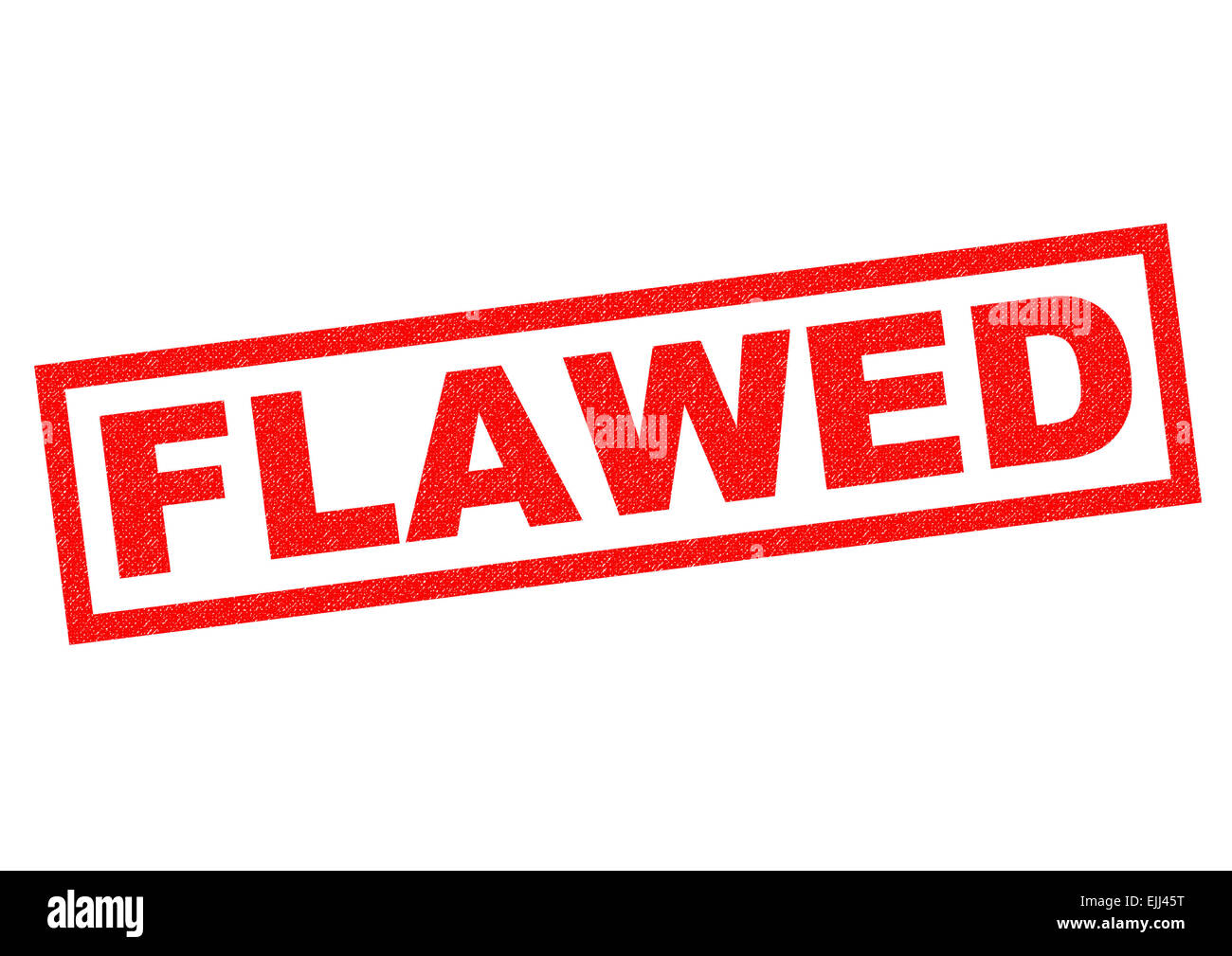 FLAWED red Rubber Stamp over a white background. - Stock Image