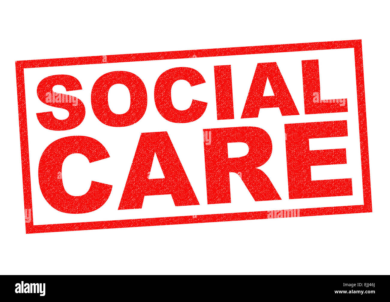 SOCIAL CARE red Rubber Stamp over a white background. Stock Photo
