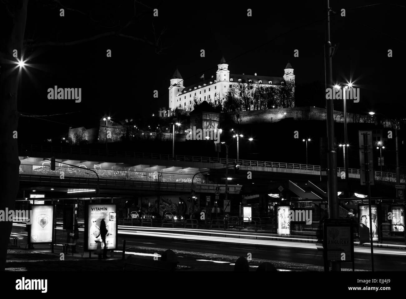 UFO Bridge in Bratislava during the hours of darkness. - Stock Image
