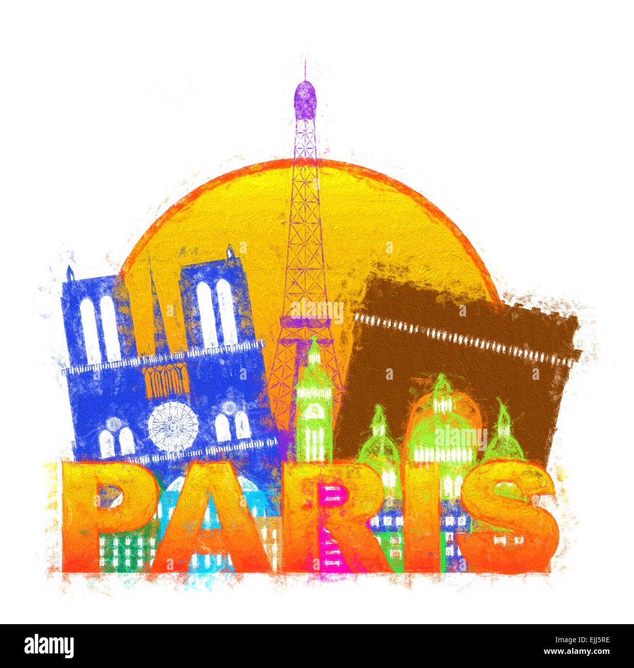 Paris France City Skyline Outline Silhouette Color in Circle Isolated on White Background Impressionist Illustration - Stock Image