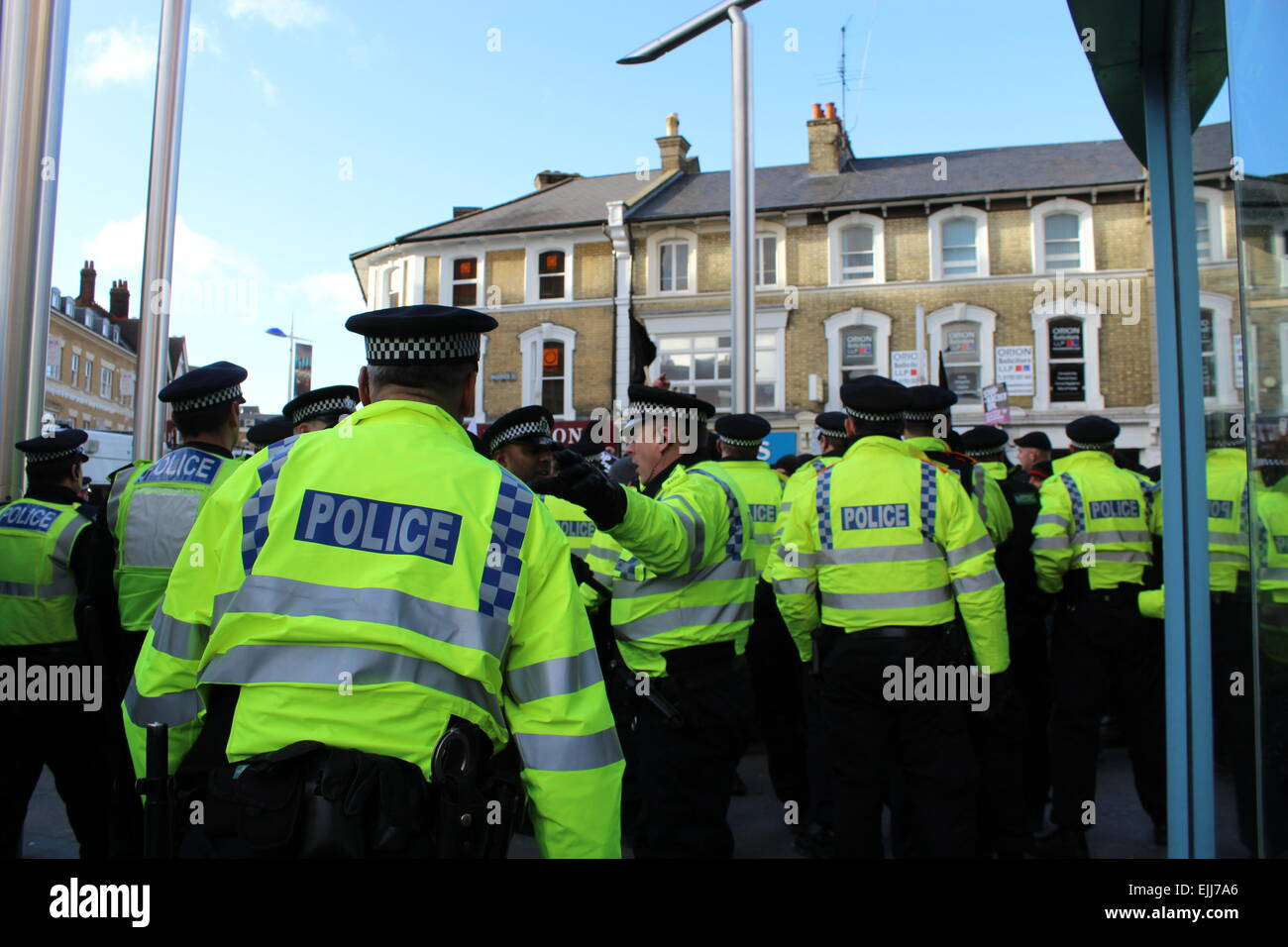 Police during demonstration in UK - Stock Image