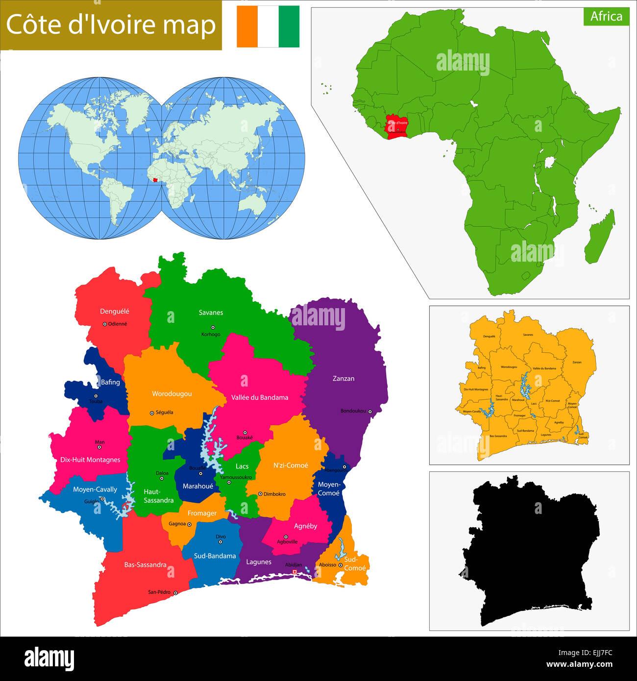 Ivory Coast Map Stock Photo 80306336 Alamy