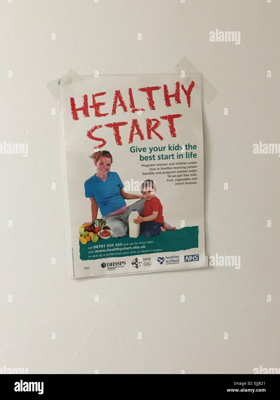 A poster on the wall of a GP practice in the UK advertising the NHS healthy campaign 'Healthy Start' - Stock Image
