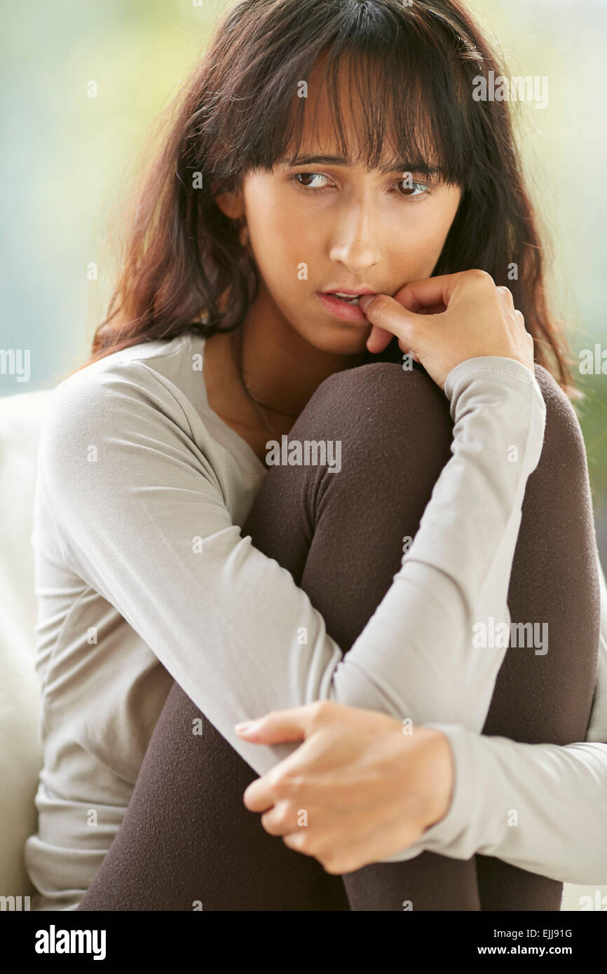 Anxious teenager - Stock Image