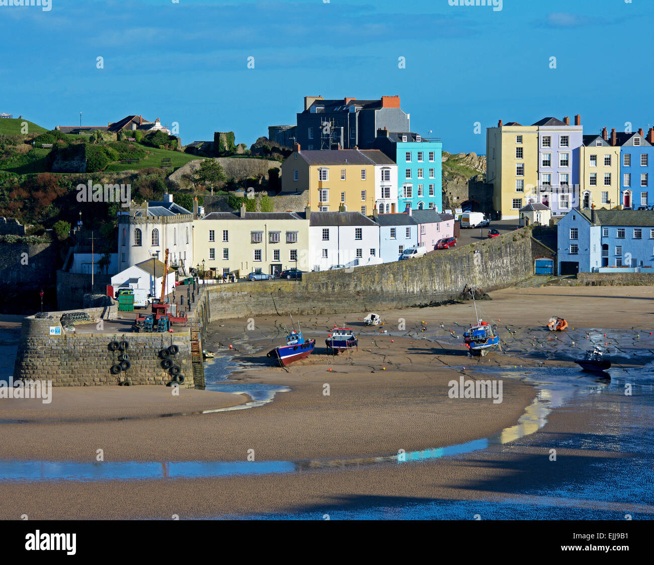 The beach and harbour, at low tide, Tenby, Pembrokeshire, Wales UK - Stock Image
