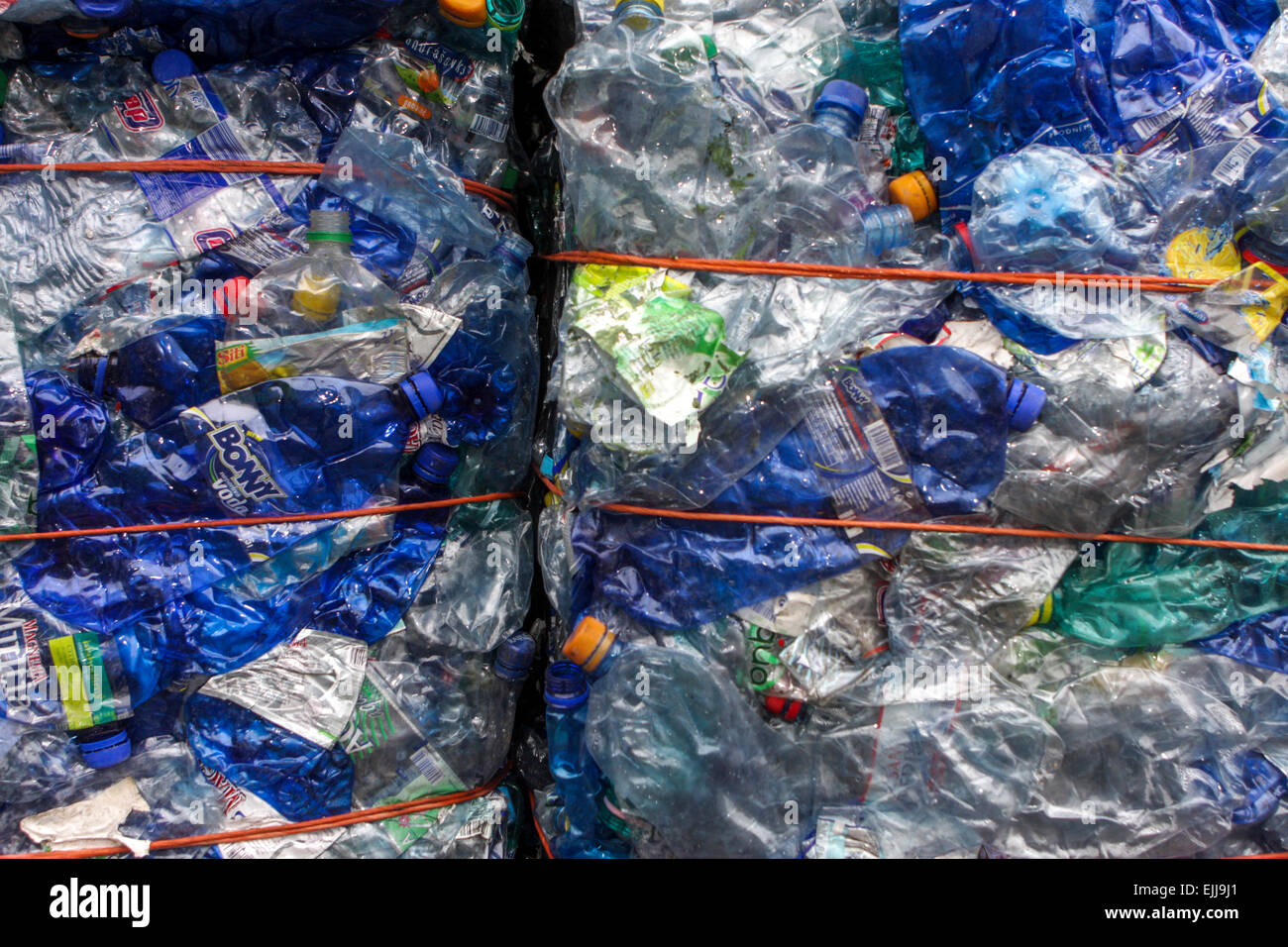 Flattened plastic waste, plastic bottles for recycling - Stock Image