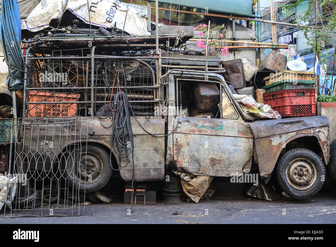 Feb 25, 2015 - Bangkok, Thailand - Old car parked on the street ...