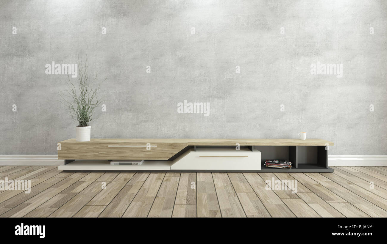 tv stand with concrete wall and wooden parquet background for design ...