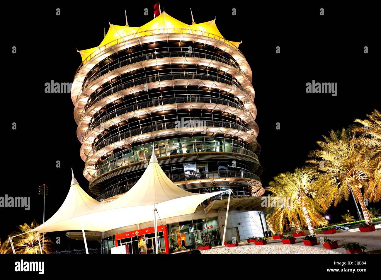 The eight-storey VIP tower (Sakhir Tower) at the Bahrain International Circuit in Sakhir, Kingdom of Bahrain - Stock Image
