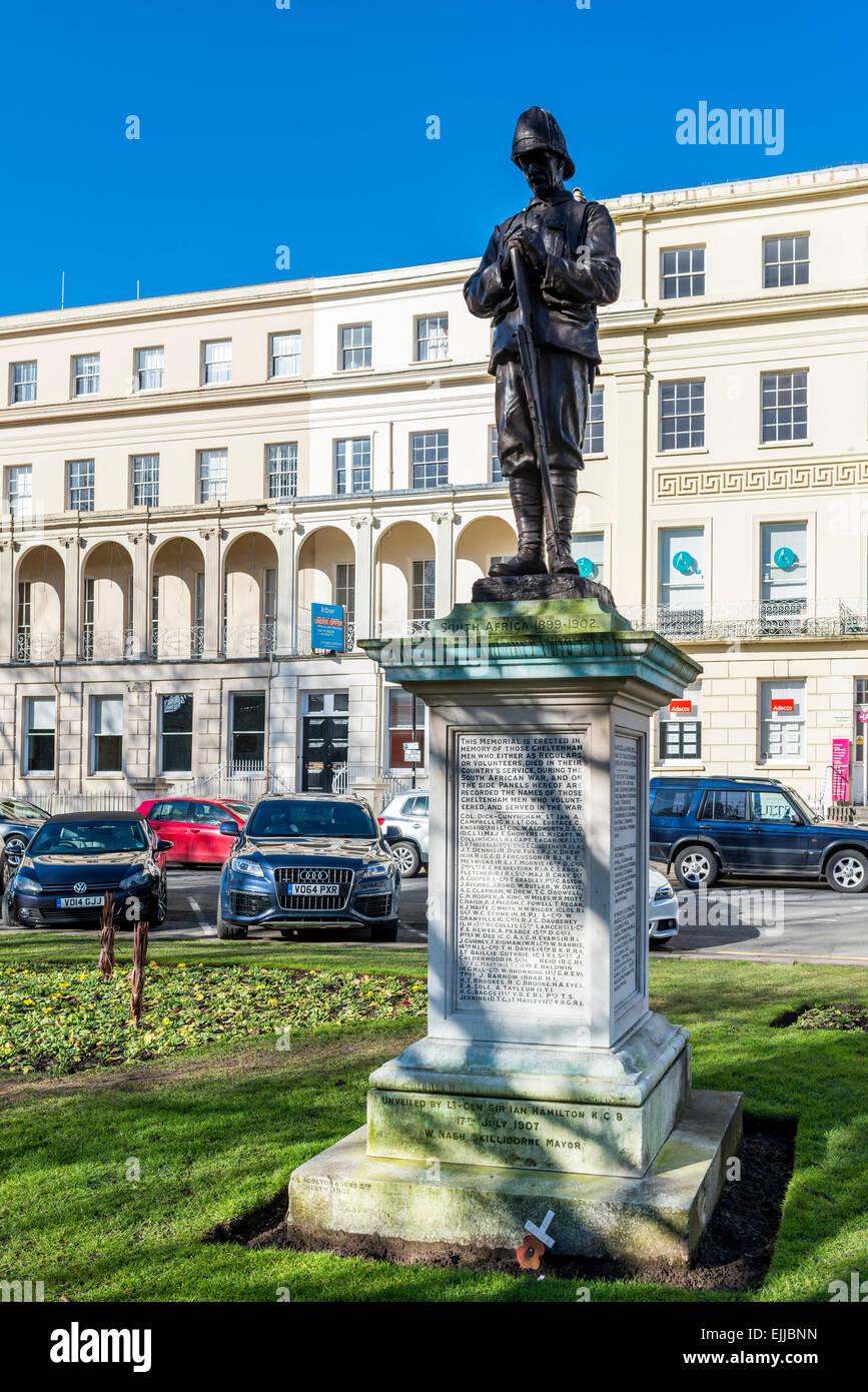 The Boer War Memorial in the Municipal Office Gardens in Cheltenham on the Promenade - Stock Image