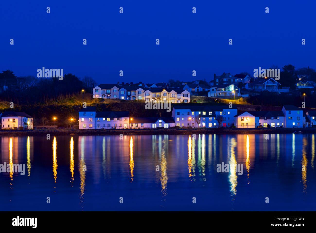 West End, Bideford, Devon, at night, and estuary of River Torridge, England UK - Stock Image