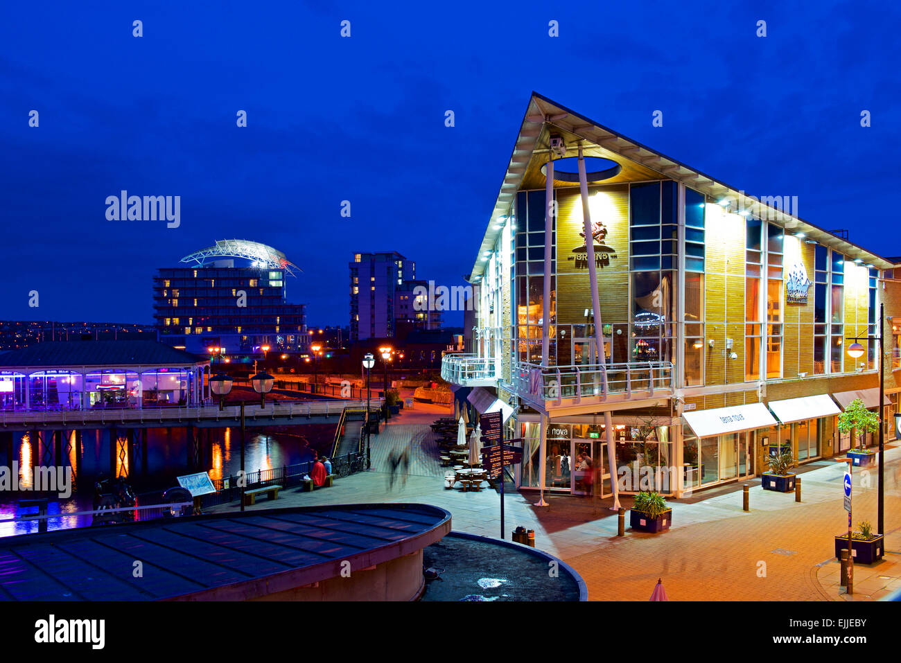 Mermaid Quay, Cardiff Bay, at night, Wales UK - Stock Image