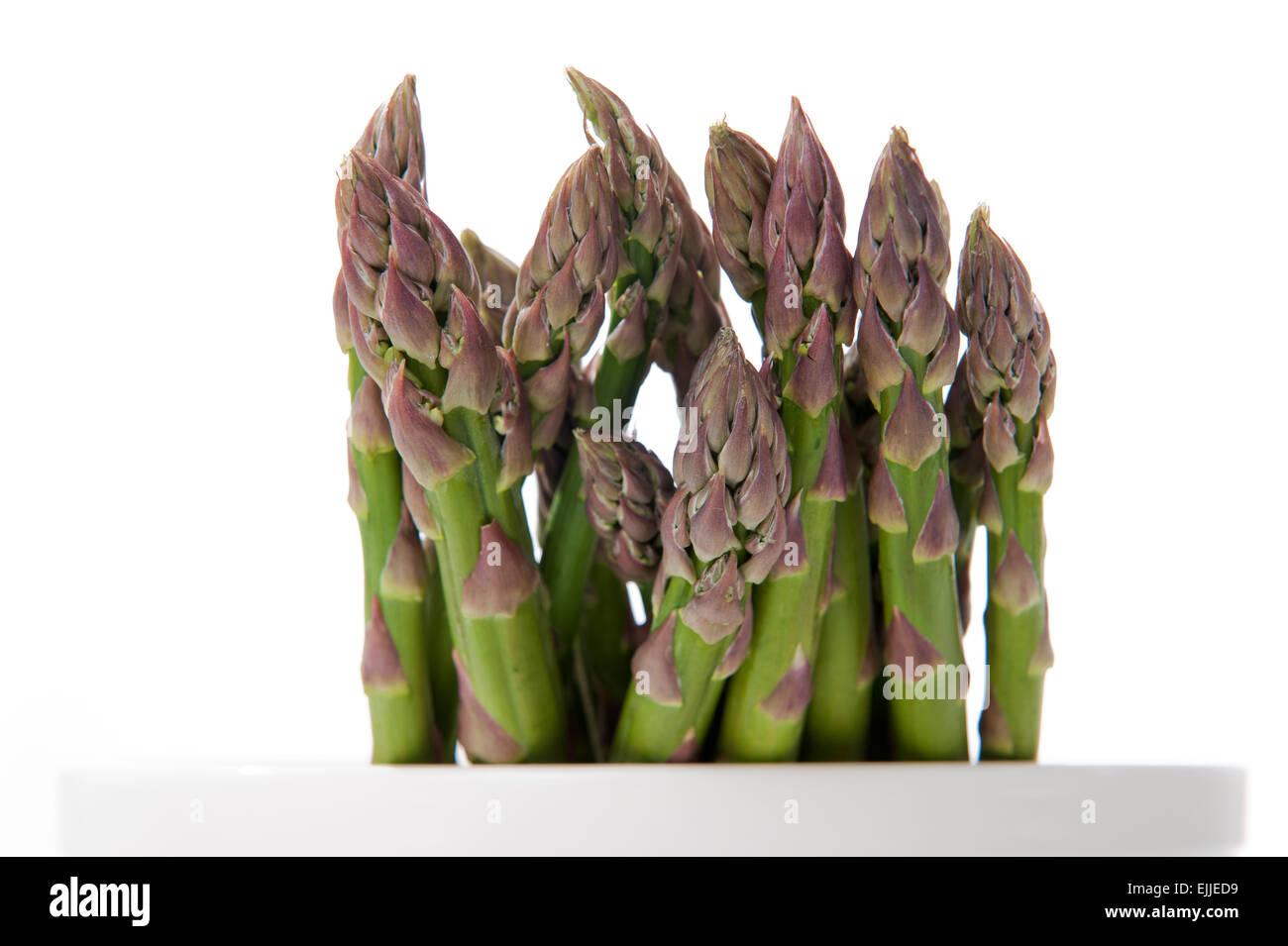 Bund gruener Spargel studiofoto   Bunch of Green Asparagus studio shot - Stock Image