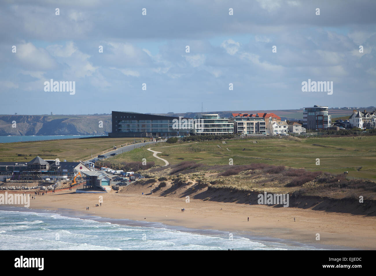 Hotels in Newquay, Cornwall, UK on March 25th, 2015. - Stock Image