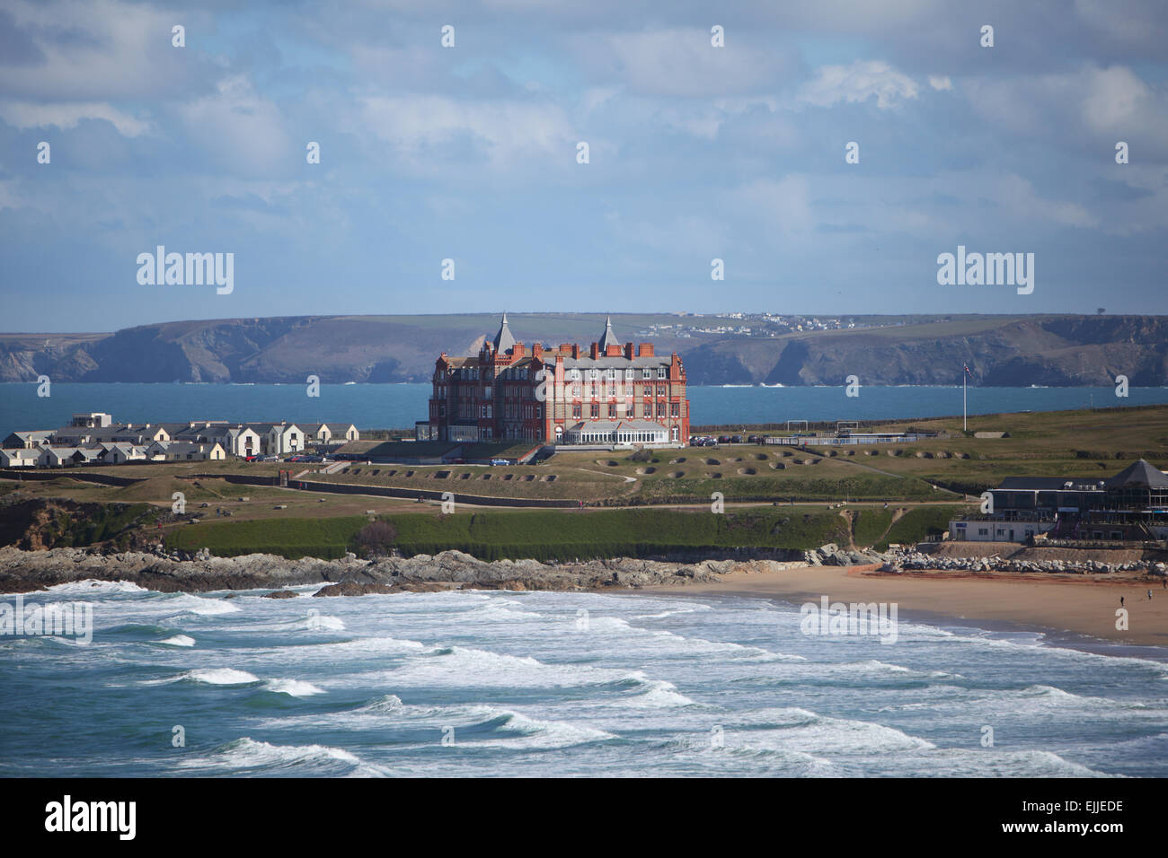View of the Atlantic Hotel in Newquay, Cornwall, UK on March 25th, 2015. - Stock Image