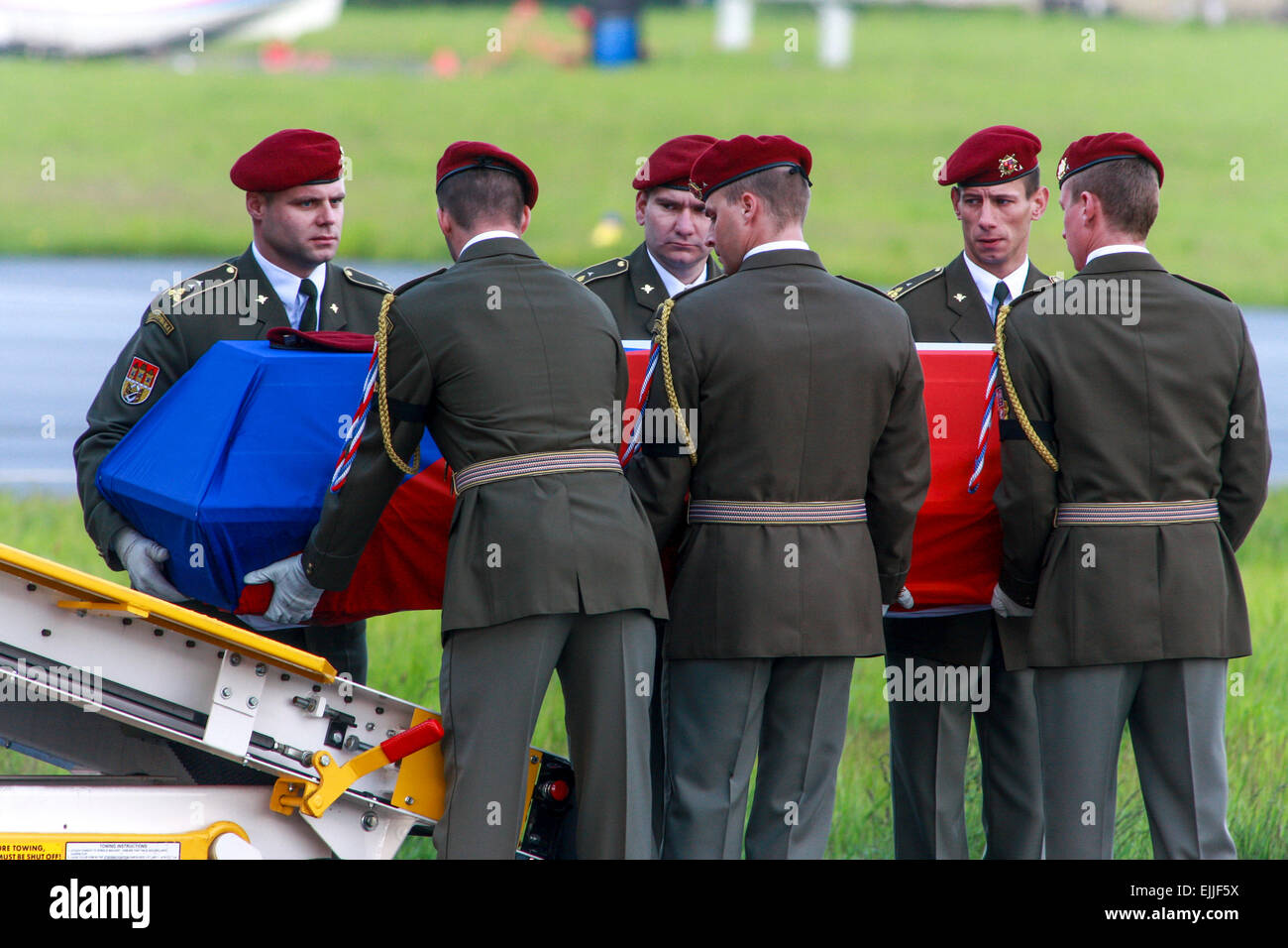 coffin with the remains of Czech dead soldier killed in Afghanistan Prague Kbely Czech Republic - Stock Image