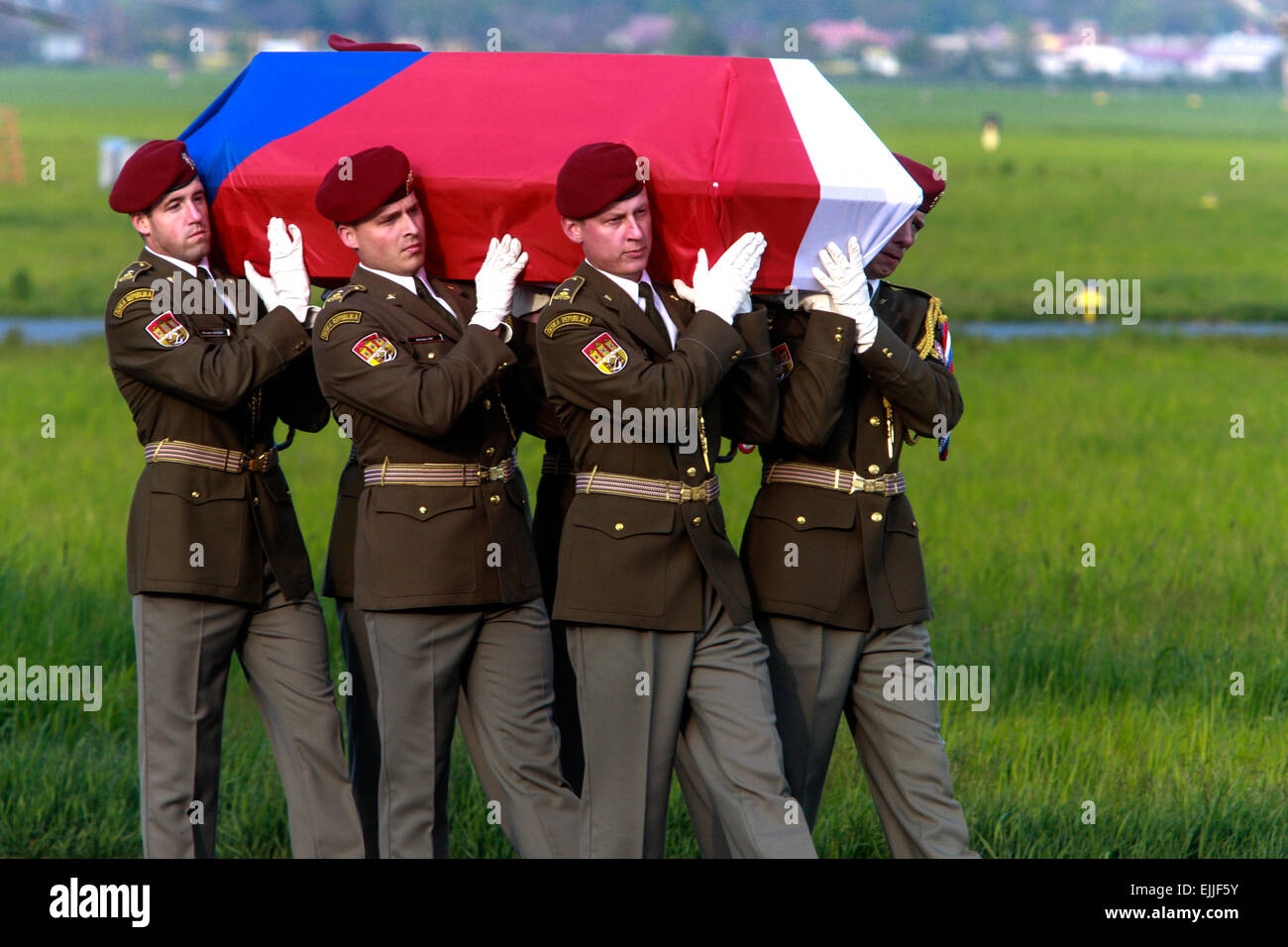 Czech flag on coffin with the remains of Czech dead soldier killed in Afghanistan Prague Kbely Czech Republic - Stock Image