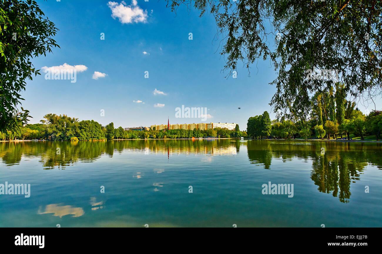 Titan Park Lake in Bucharest, Romania. - Stock Image