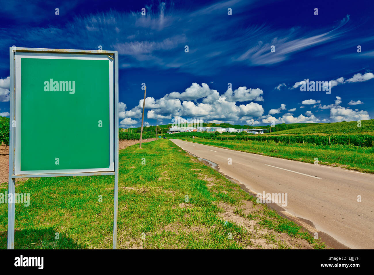 Empty billboard on road at Recas Winery, Romania. - Stock Image