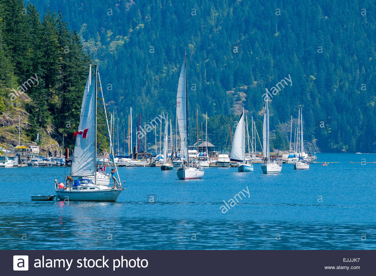 A sunny sailing day is enjoyed at the annual Deep Cove Yacht Club sail past. Deep Cove, District of North Vancouver, - Stock Image