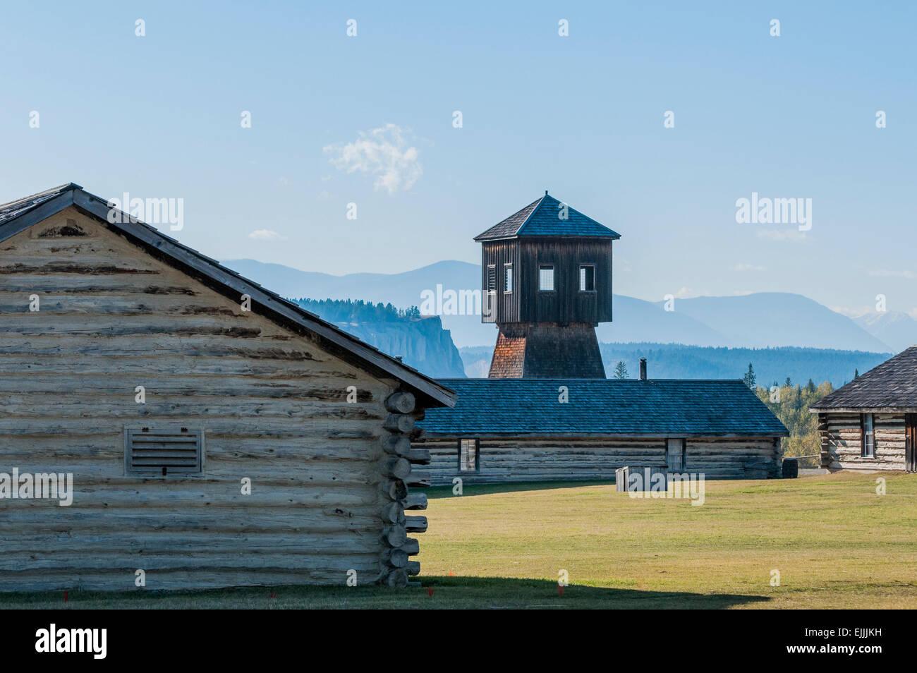 Log cabins, N.W.M.P, Kootenay Post, Fort Steele Heritage Town,  Kootenay Region, British Columbia, Canada - Stock Image
