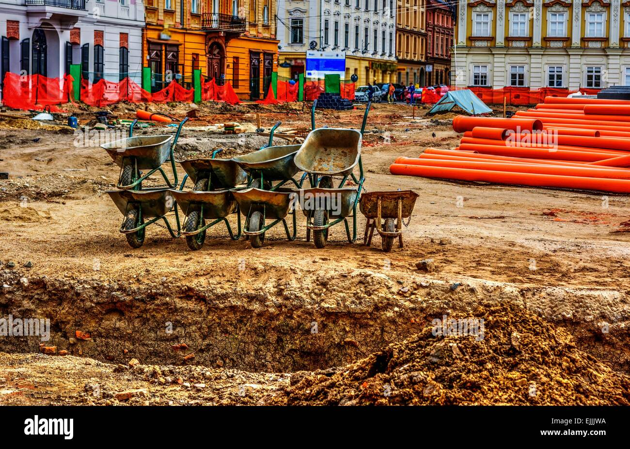 Construction site with wheelbarrows in Timisoara, Romania. - Stock Image