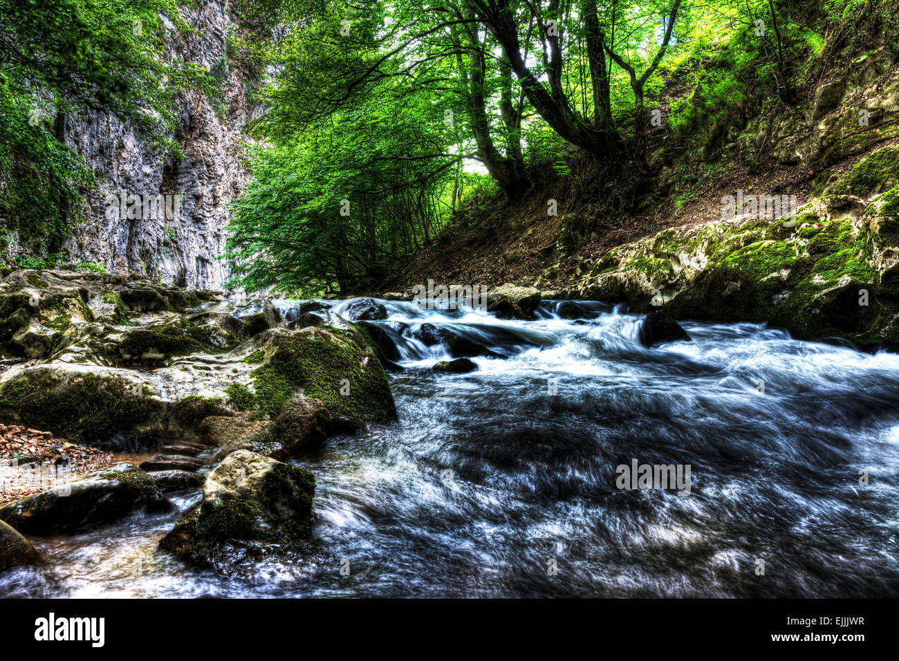 Water flowing in river bed, Bigar Waterfall, Romania. Stock Photo