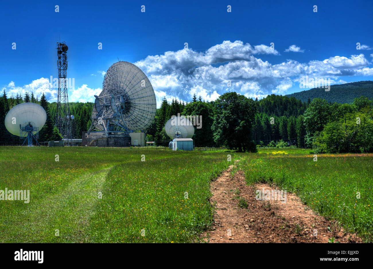 Telecommunication antennas in the mountains. - Stock Image