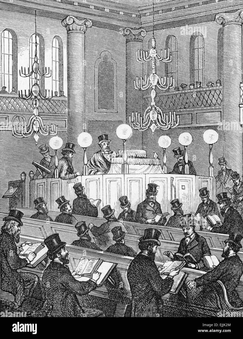Inside a 'modern' synagogue - in 18th century Britain - Stock Image