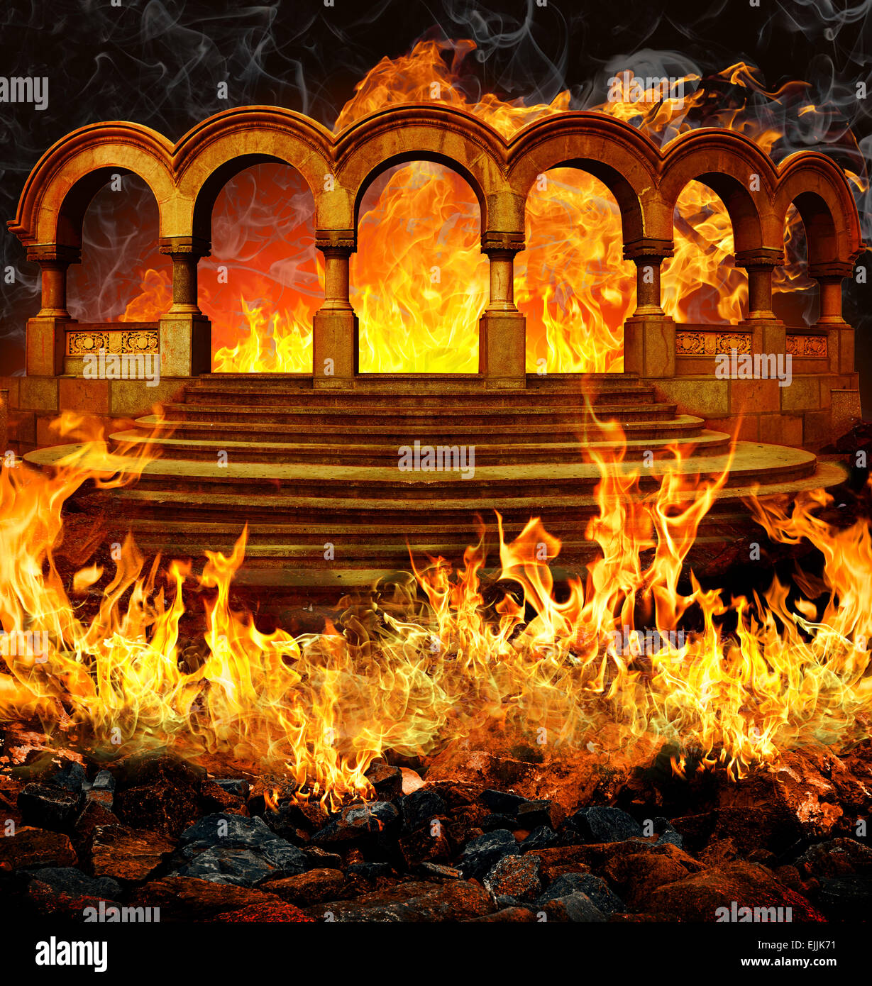 Hell gates with stairs and portal columns in fire flames and smoke. - Stock Image