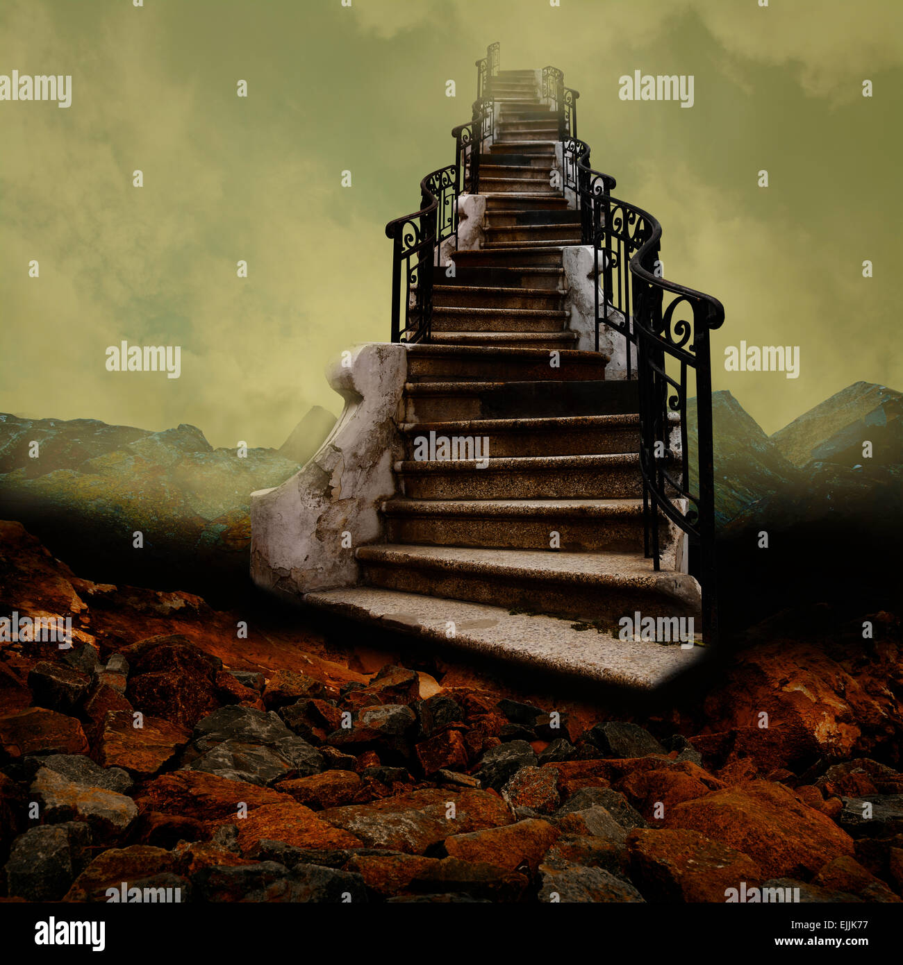 Surreal stairway towards the sky, like an old painting. - Stock Image