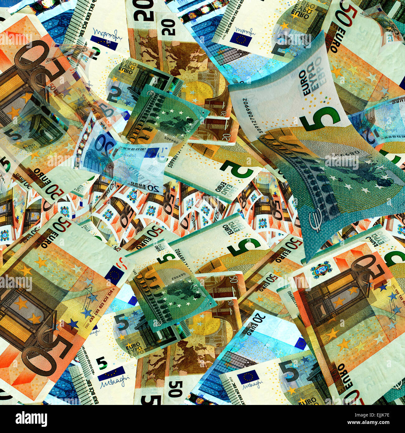Money background with many euro banknotes. - Stock Image