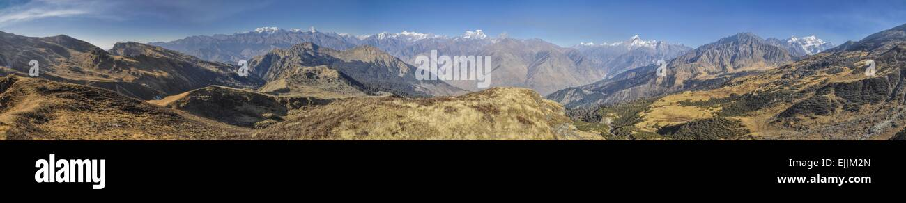 Scenic panorama of Kuari Pass in Himalayas, India - Stock Image