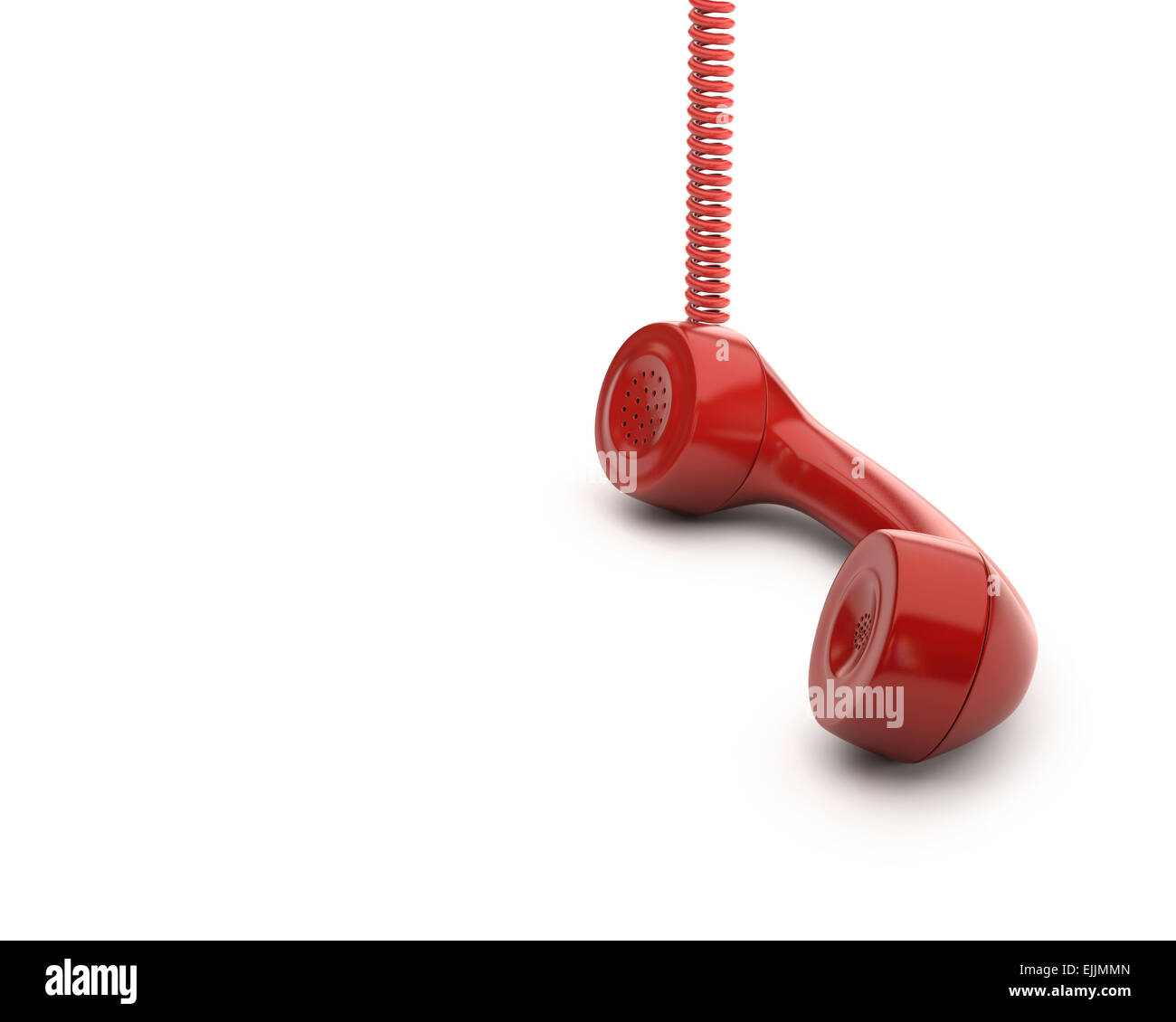 Red telephone handset, computer illustration. - Stock Image