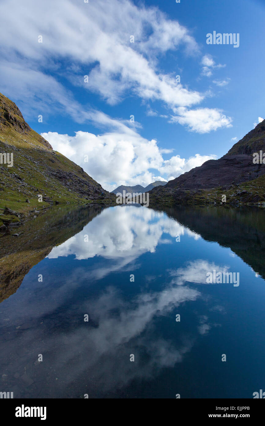 Lough Cummeenoughter, Ireland's highest lake, on the slopes of Carrauntoohil. MacGillycuddy's Reeks, County - Stock Image