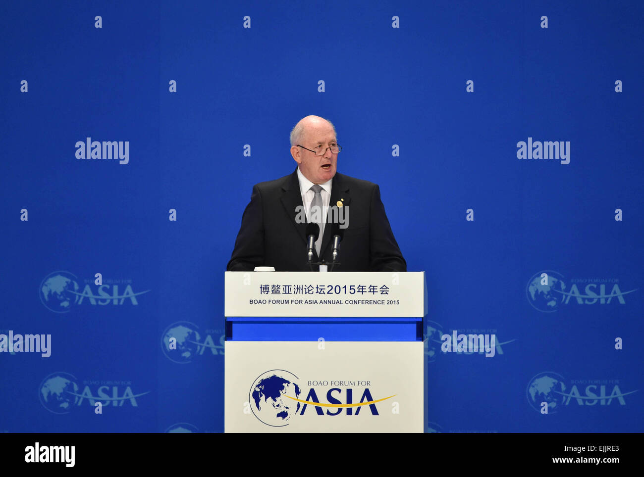Boao, China's Hainan Province. 28th Mar, 2015. Australian Governor-General Peter Cosgrove speaks during the - Stock Image