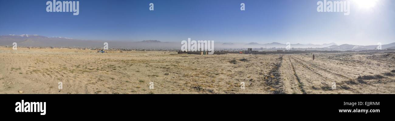 Scenic panorama of arid landscape around Kabul in Afghanistan - Stock Image