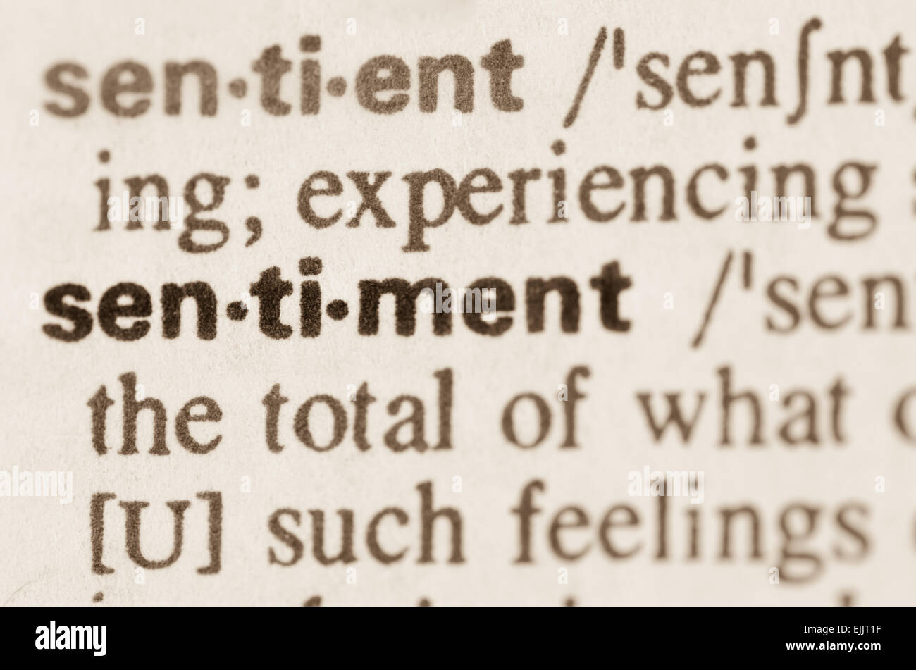 Definition of word sentiment in dictionary - Stock Image