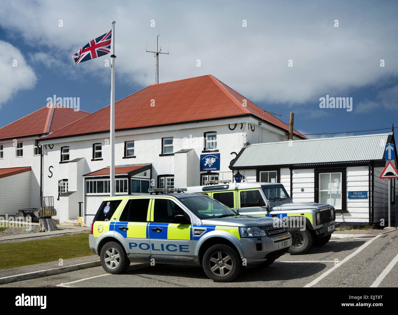 Falklands, Port Stanley, police cars outside Royal Falkland Islands Police Force Headquarters - Stock Image