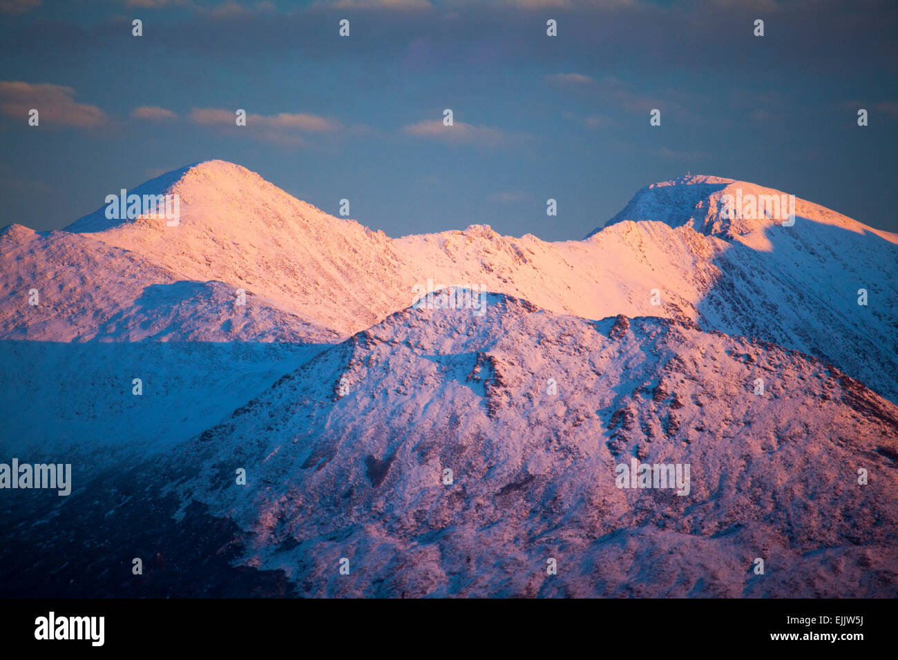 Winter evening light on Carrauntoohil, MacGillycuddy's Reeks, County Kerry, Ireland. - Stock Image