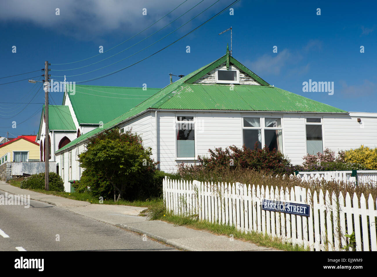Falklands, Port Stanley, Barrack Street, green roofed house and nonconformist church - Stock Image