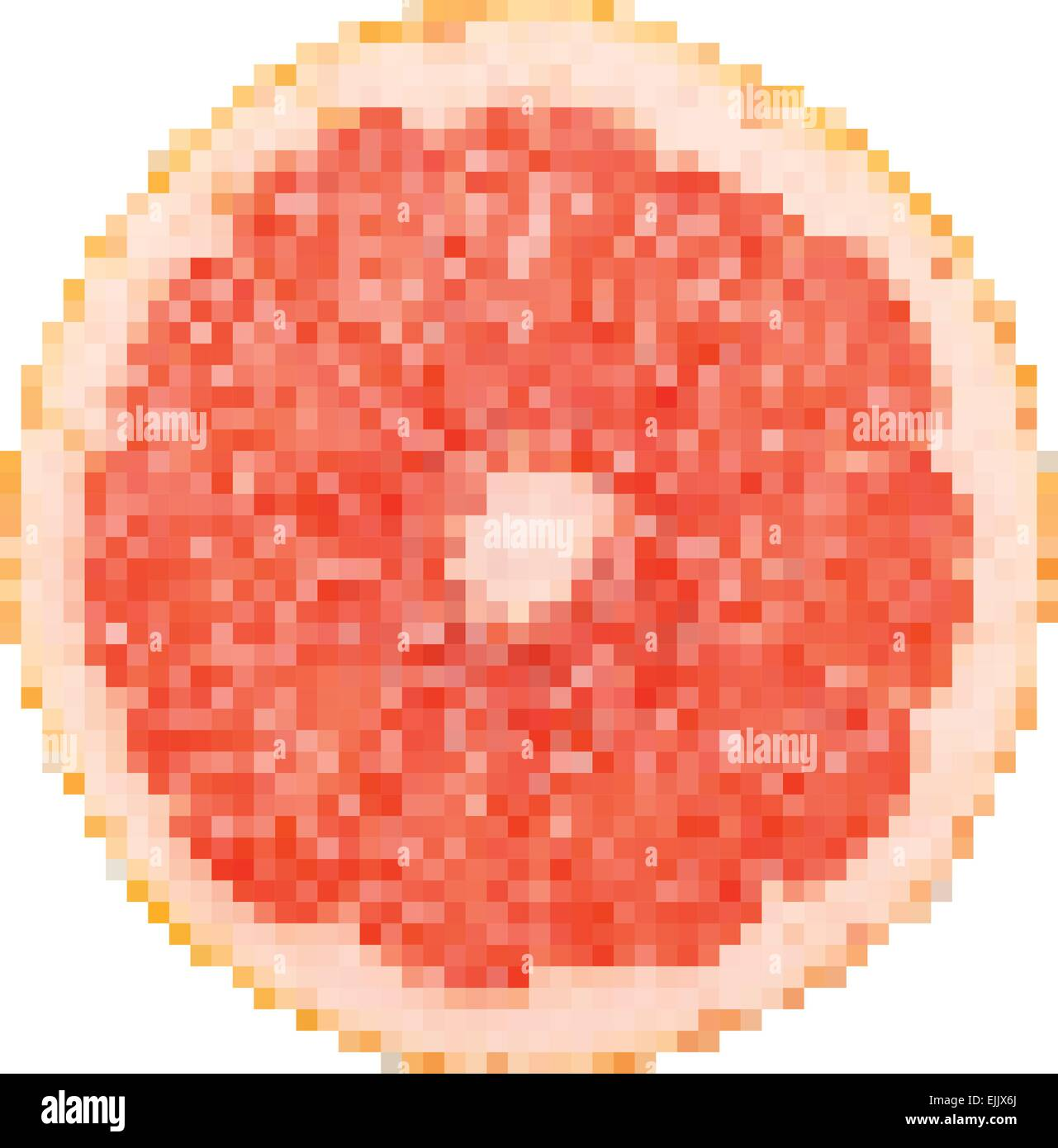 Citrus Fruit Slice Pixel Vector Isolated On White Stock