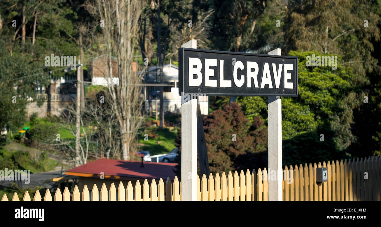 Belgrave puffing billy railway station signage - Stock Image