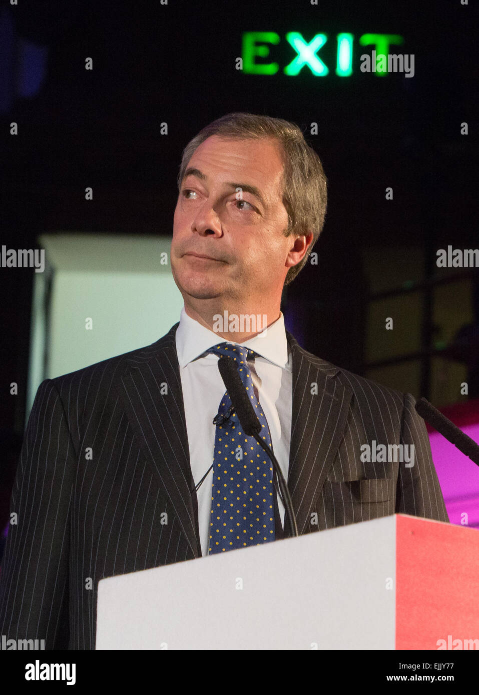 Nigel Farage,the UKIP leader,speaks at a conference at Westminster Central Hall about building new homes Stock Photo