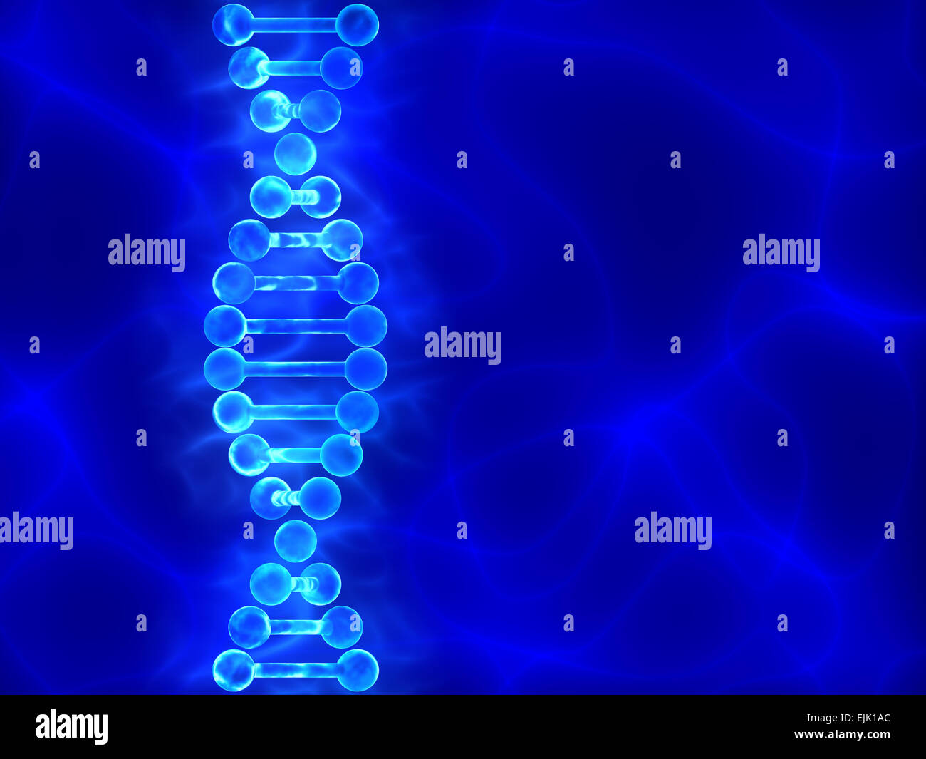Blue DNA (deoxyribonucleic acid) background with waves - Stock Image
