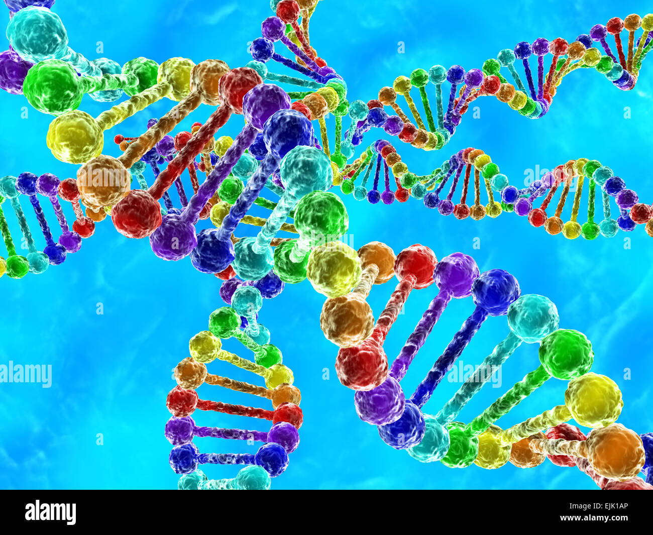 Rainbow DNA (deoxyribonucleic acid) with blue background - Stock Image