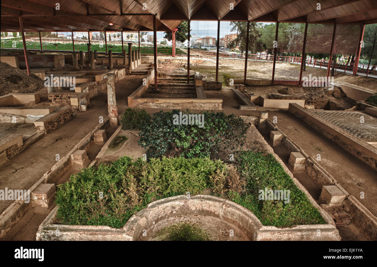 The house of the Mithraeum is an ancien roman patrician house built in concrete blocks reinforced corners. Highlights - Stock Image