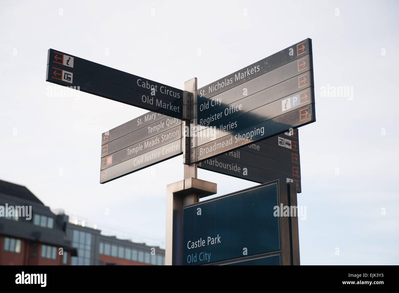 Signpost in Bristol City Centre showing Cabot Circus Old Market St Nicholas Market Old City Temple Quay - Stock Image