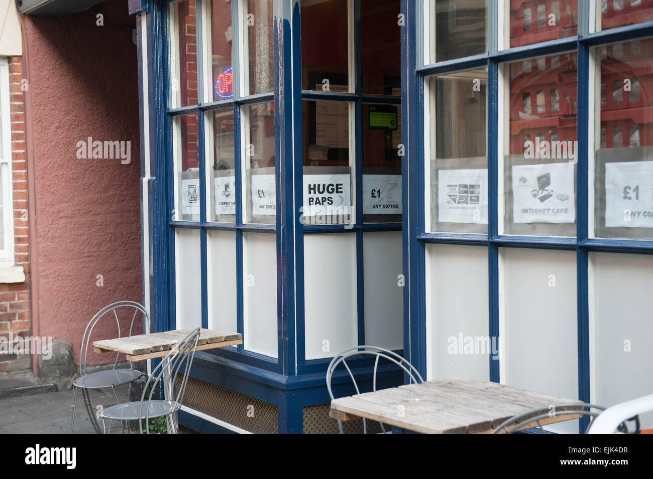 Cafe in Bristol city centre with a sign reading Huge Baps - Stock Image